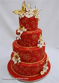 Red And Gold Sweet 16 Birthday Cakes