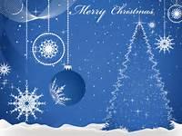 Free Blue Merry Christmas Card
