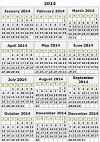 Printable 2014 Yearly Calendar Templates