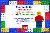 LEGO Birthday Party Invitation Template