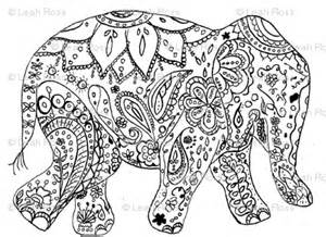 Coloring Pages of henna elephant