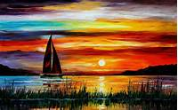 Oil Painting Sailboat Sunset