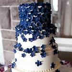 Royal Blue Wedding Cake With Flowers