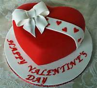 Picture Of Red Heart Shaped Valentine Cake W/ White Bow