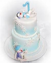 Snowman Winter Wonderland Birthday Cake