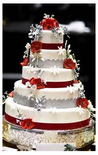 Red White And Silver Wedding Cake
