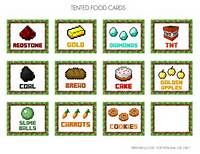 Free Printable Minecraft Party Food Labels