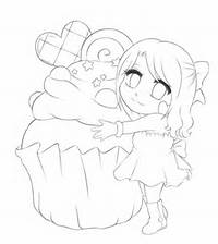 Cute Cartoon Cupcakes Coloring Pages