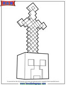 Minecraft Sword On Head Coloring Page