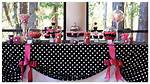 Pink And Black Party Table Decoration