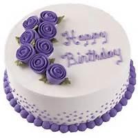 Purple Rose Happy Birthday Cake