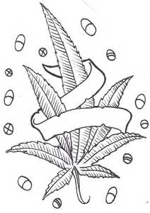 Pot Leaf And Pills tattoo Design, weed leaf with banner and pills ...