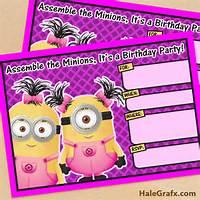 Girl Minion Birthday Invitations Free