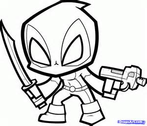 ... Draw Chibi Deadpool Deadpool From Xmen Step Coloring Pages (1219x1041