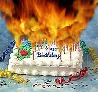 Happy Birthday Cake With Candles On Fire