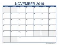 Blank November Calendar 2016