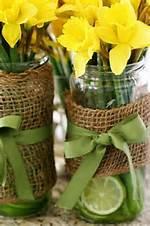 Burlap Flowers Centerpieces Mason Jar Ribbons