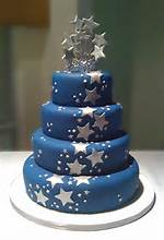 Star Blue And Silver Wedding Cake