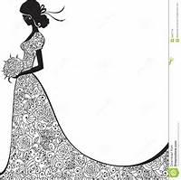 Bridal Shower Wedding Dress Silhouette Clip Art Free