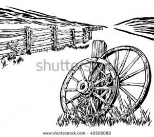 Wagon Wheel Coloring Page Wagon wheels and rustic fence