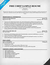 Fire Department Chief Resume Sample