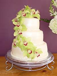 Green Wedding Cake With Orchids