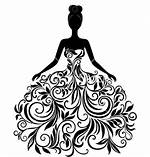 Silhouette Of Young Elegant Woman In Wedding Dress Vector