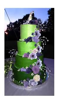 Green And Purple Buttercream Wedding Cakes