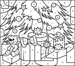 Christmas Gifts - Printable Color by Number Page - Hard