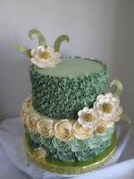 Green Birthday Cake With Flowers