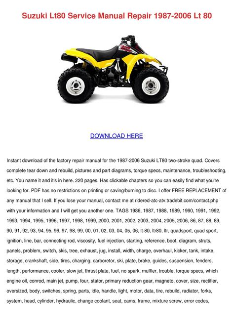 00 Suzuki Lt80 Service Manual