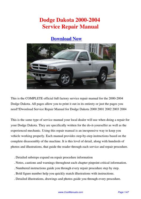 01 Dodge Dakota Service Manual
