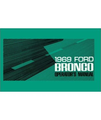 1969 Ford Bronco Owners Manual