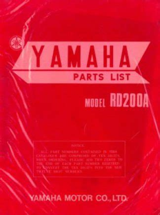 1974 Yamaha Rd200a Factory Parts Catalog U Yam P Rd200a