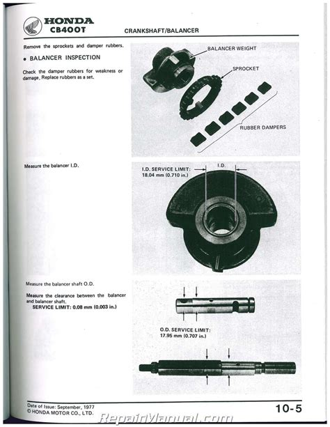 1978 Honda Cb400 Motorcycle Service Manual