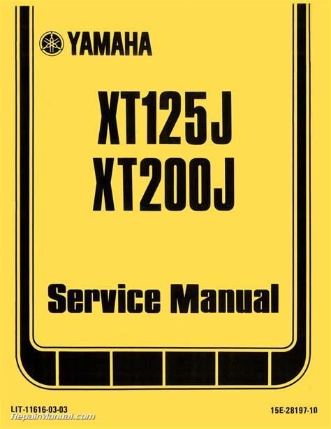 1982 Yamaha Xt125j Xt200j Motorcycle Factory Service Manual Rlit 11616 03 03