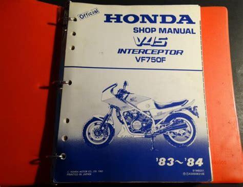 1983 Honda Motorcycle V45 Interceptor Vf750f Service Manual In Binder 852