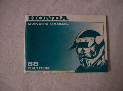 1988 Honda Xr100r Factory Owners Manual 31kn4630