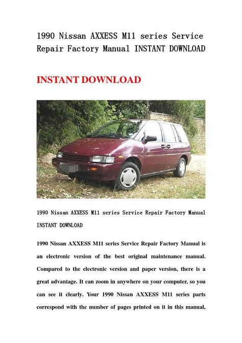 1990 Nissan Axxess Repair Manual