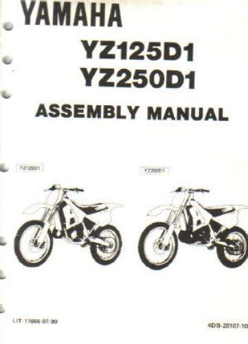 1992 Yamaha Yz125d1 Yz250d1 Assembly Manual Lit 11666 07 90