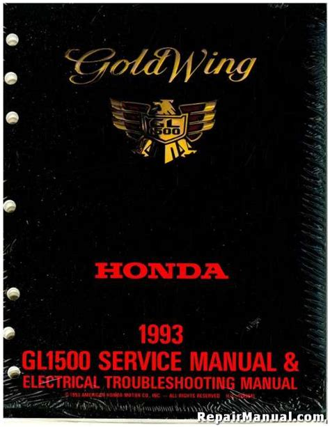 1993 Honda Gl1500 Gold Wing Factory Service Electrical Troubleshooting Manual 61mz300 Ah