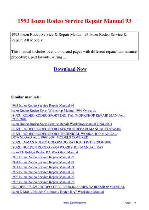 1993 Isuzu Rodeo Service Repair Manual