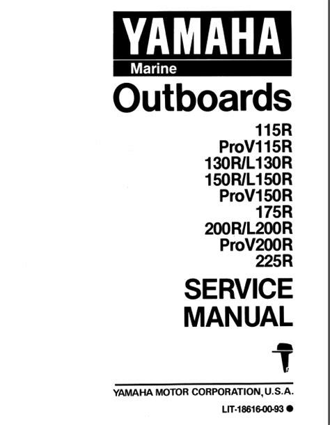 1993 Yamaha L250 Txrr Outboard Service Repair Maintenance Manual Factory