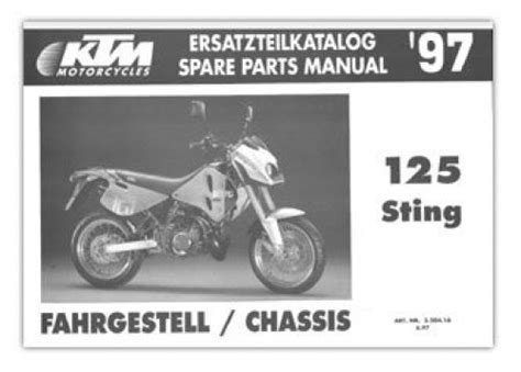 1997 Ktm 125 Sting Chassis Spare Parts Manual