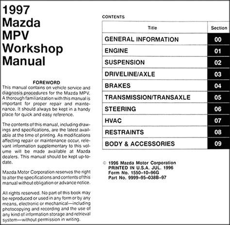 1997 Mazda Mpv Repair Shop Manual Original