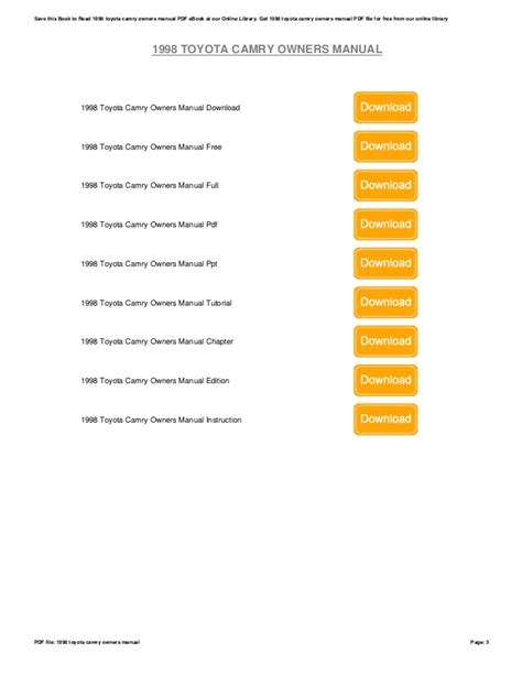 1998 Camry Warranty And Service Manual
