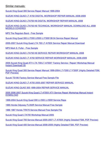 1999 2004 Suzuki King Quad 300 Service Repair Manual Lt F300 Lt F300f Highly Detailed Fsm Preview