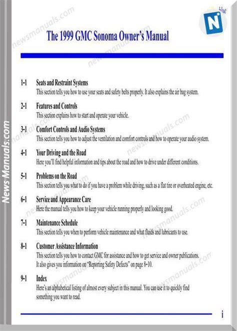 1999 Gmc Sonoma Service Repair Manual
