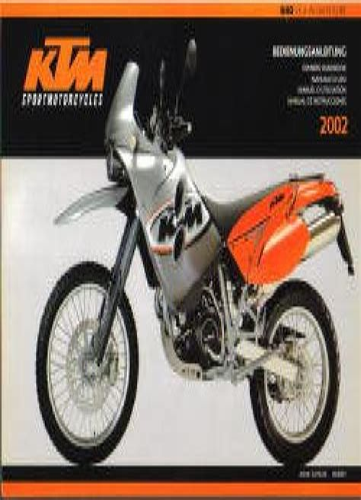 1999 Ktm 640 Adventurer Motorcycle Owners Handbook