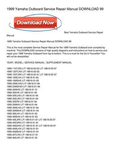 1999 Yamaha 30 Elhx Outboard Service Repair Maintenance Manual Factory Service Manual